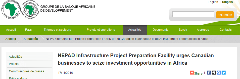 NEPAD Infrastructure Project Preparation Facility urges Canadian businesses to seize investment opportunities in Africa
