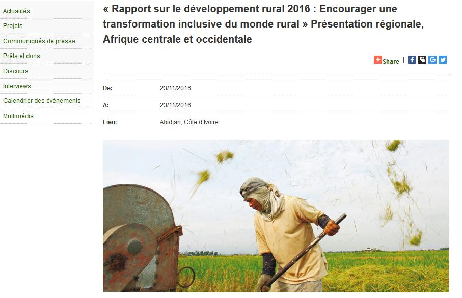 « Rapport sur le développement rural 2016 : Encourager une transformation inclusive du monde rural » Présentation régionale, Afrique centrale et occidentale