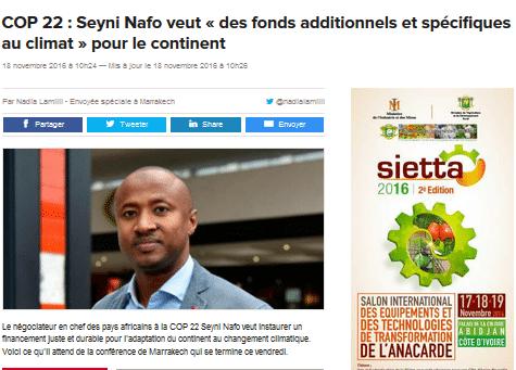COP 22 : Seyni Nafo veut « des fonds additionnels et spécifiques au climat » pour le continent