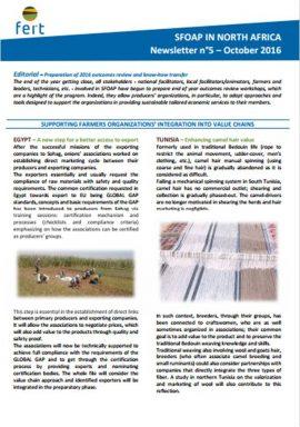 FERT : Lettre d'information n°5 (Octobre 2016) Le PAOPA en Afrique du Nord