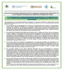 Avis sur les résultats préliminaires de la campagne agropastorale 2016-2017 et sur la situation alimentaire au Sahel et en Afrique de l'Ouest