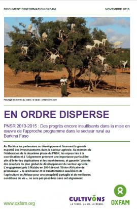 En ordre dispersé: Des progrès encore insuffisants dans la mise en œuvre de l'approche programme dans le secteur rural au Burkina Faso
