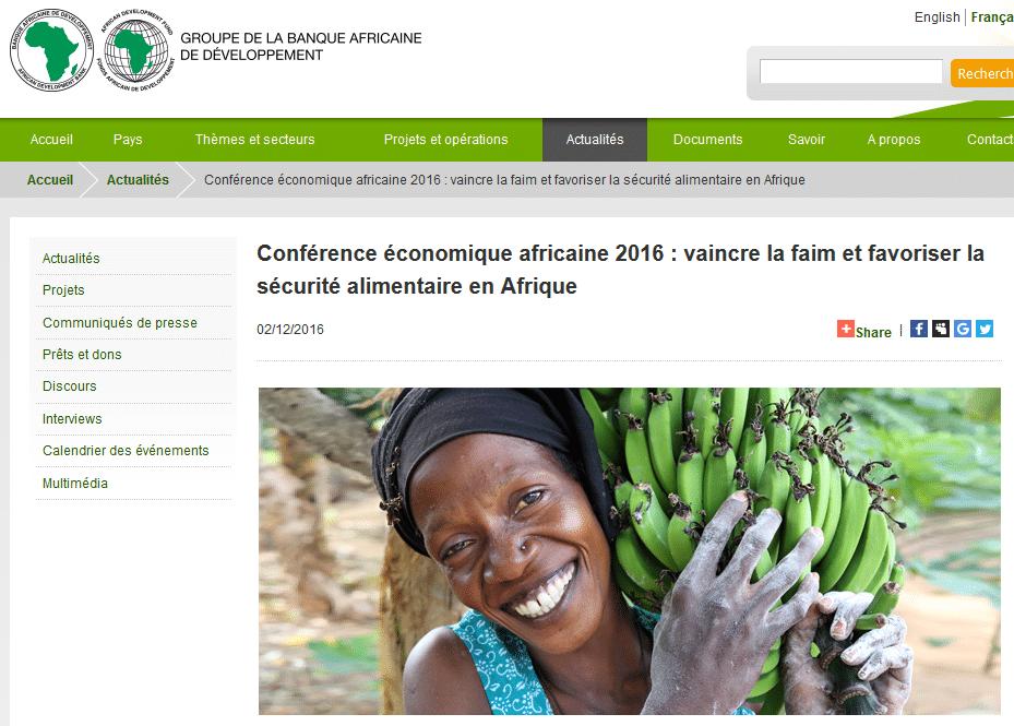 Conférence économique africaine 2016 : vaincre la faim et favoriser la sécurité alimentaire en Afrique