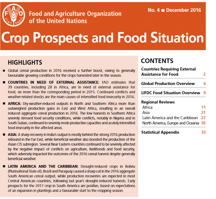 Crop Prospects and Food Situation, No. 4 December 2016