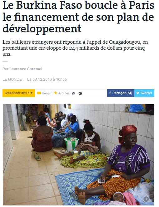 Le Burkina Faso boucle à Paris le financement de son plan de développement