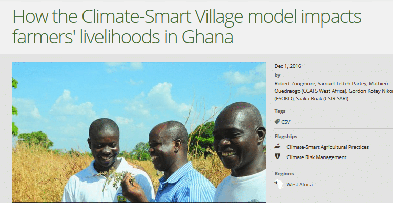 How the Climate-Smart Village model impacts farmers' livelihoods in Ghana
