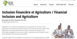 Conférence Inclusion Financière et Agriculture du 30 Novembre 2016 - Documents