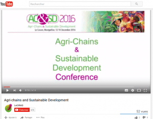 Conférence Agri-chains and sustainable development (ACSD) 12-14 Décembre 2016 - Vidéo