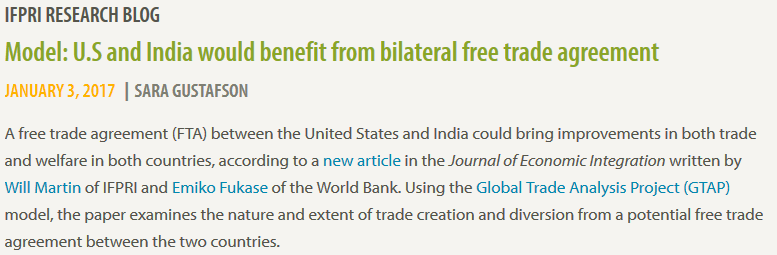 Model: U.S and India would benefit from bilateral free trade agreement