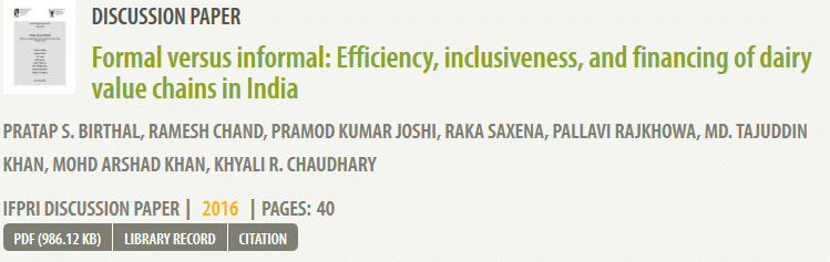 Formal versus informal: Efficiency, inclusiveness, and financing of dairy value chains in India