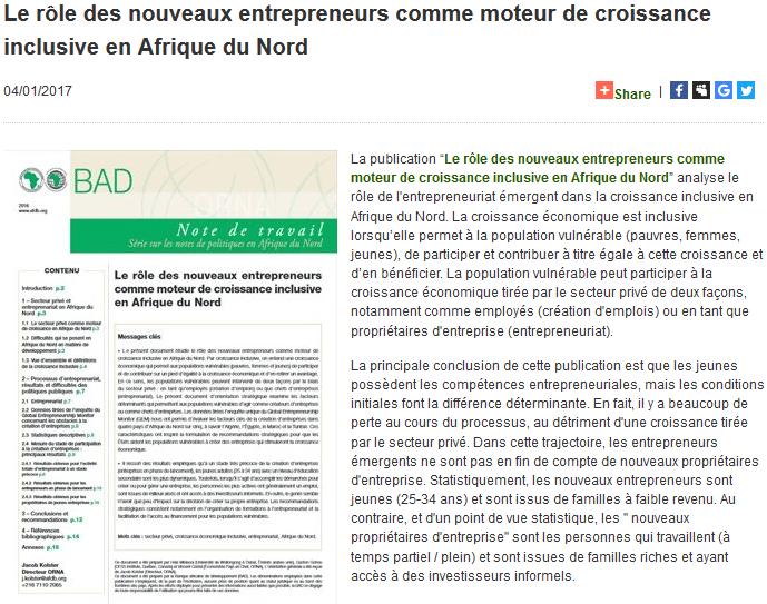 Le rôle des nouveaux entrepreneurs comme moteur de croissance inclusive en Afrique du Nord