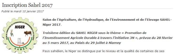 Salon de l'Agriculture, de l'Hydraulique, de l'Environnement et de l'Elevage SAHEL- Niger 2017