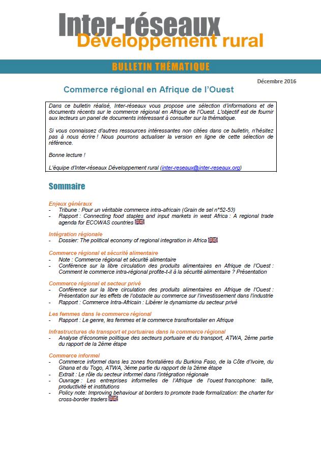 Bulletin de veille n°301 - Commerce régional en Afrique de l'Ouest