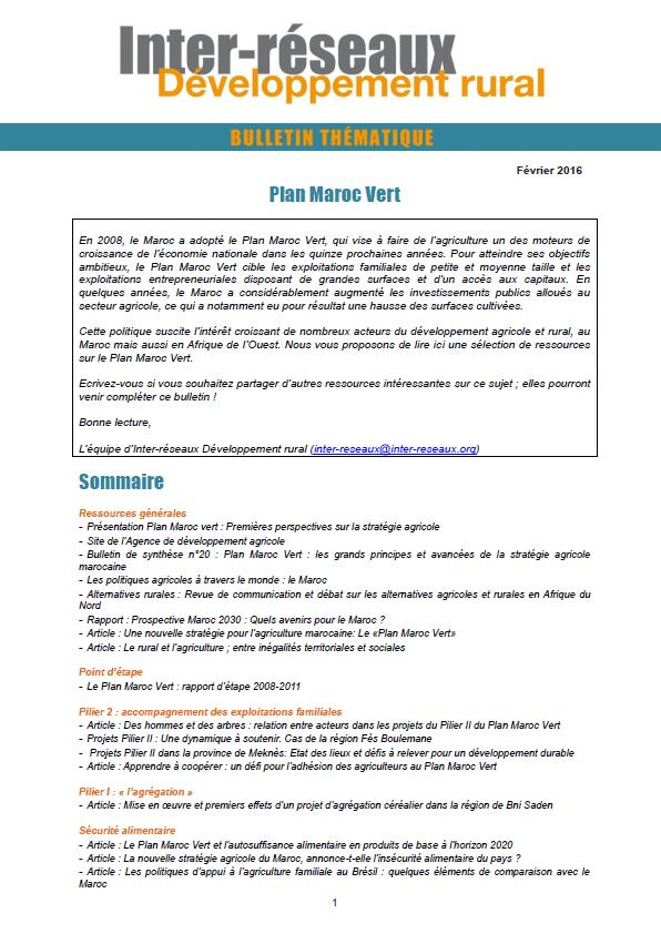 Bulletin de veille n°303 - Spécial Plan Maroc Vert
