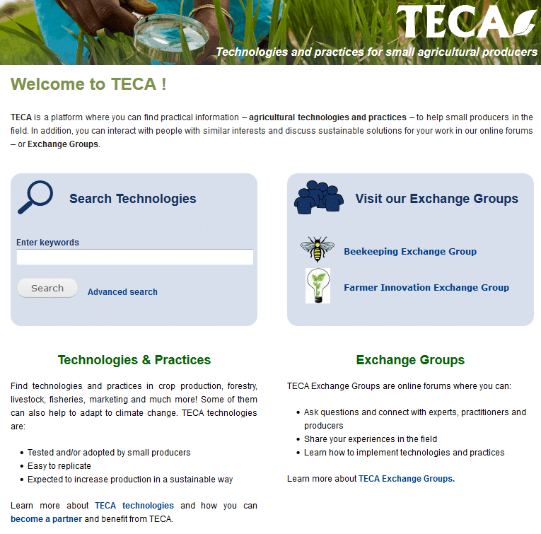 Online forums: Technologies and practices for small agricultural producers (TECA)