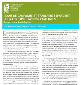 Etude au Sénégal : plans de campagne et transferts d'argent pour les exploitations familiales
