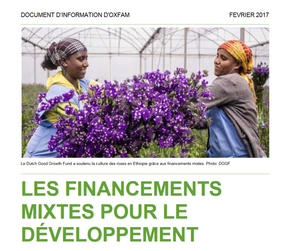Rapport : Les financements mixtes pour le développement : risques et opportunités