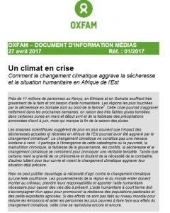 Document d'information OXFAM : Comment le changement climatique aggrave la sécheresse et la situation humanitaire en Afrique de l'Est