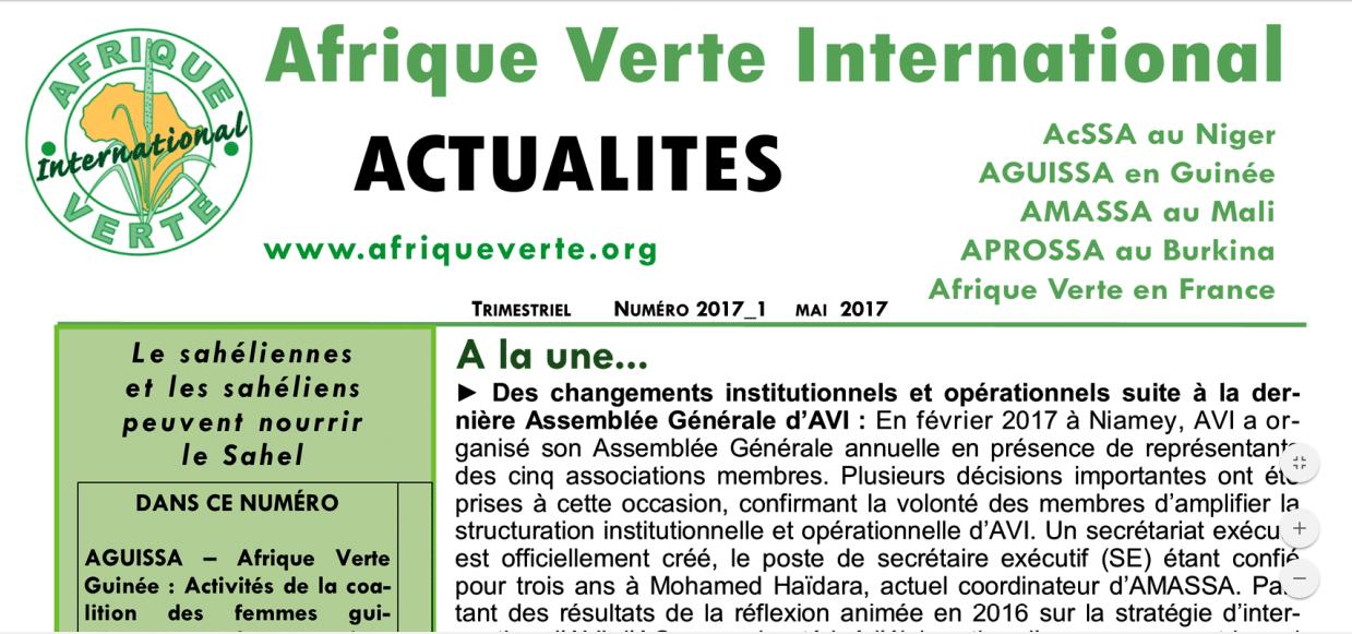 Trimestriel Afrique Verte International Actualités