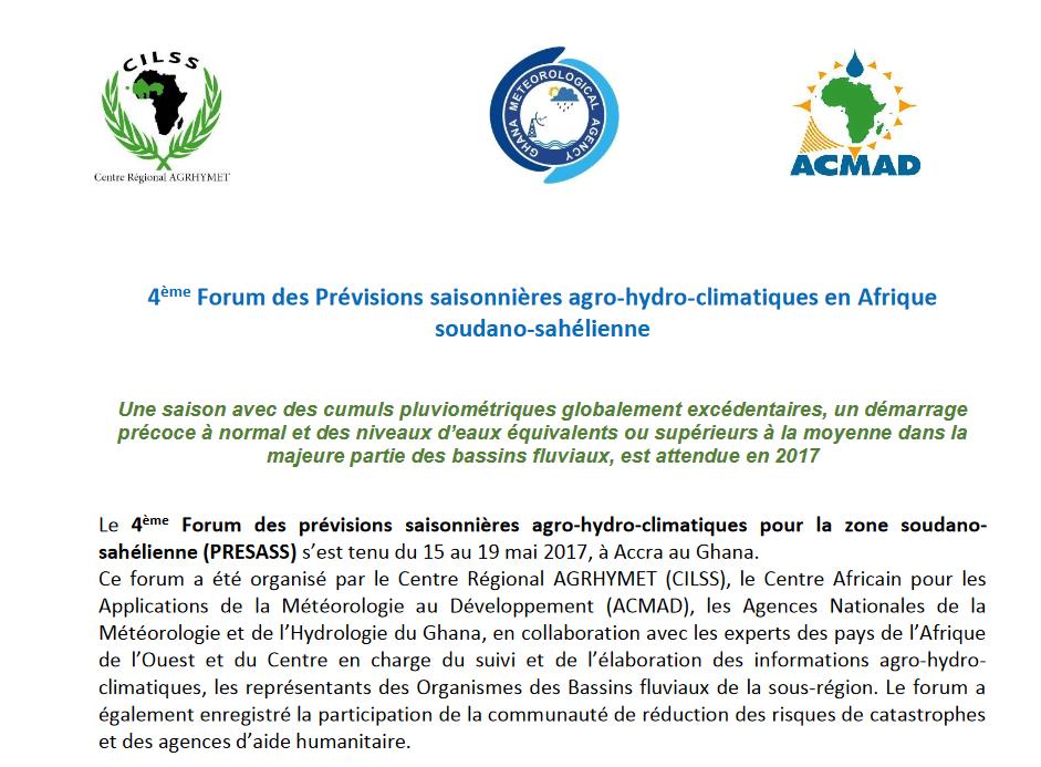 Communiqué: 4 ème  Forum des Prévisions saisonnières agro-hydro-climatiques en Afrique   soudano-sahélienne