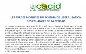 Note d'analyse Enda-Cacid: Les forces motrices du schéma de libéralisation des échanges de la CEDEAO
