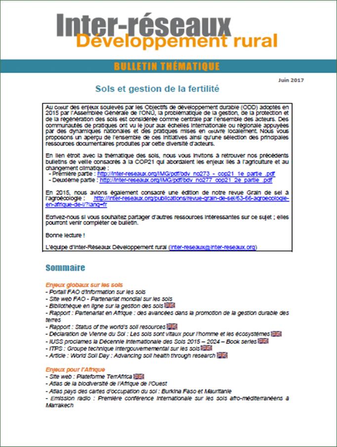 Bulletin de veille n°313 - Spécial sols et gestion de la fertilité