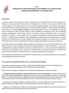 Madagascar : communiqué sur le nouveau projet de loi sur les Zones d'Investissement Agricole
