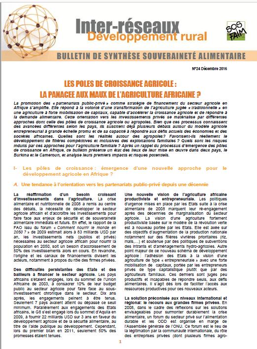 Bulletin de synthèse n°24 - Les pôles de croissance agricole: la panacée aux maux de l'agriculture africaine?