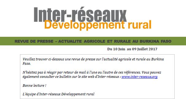 Revue de presse Burkina du 10 Juin au 09 Juillet 2017