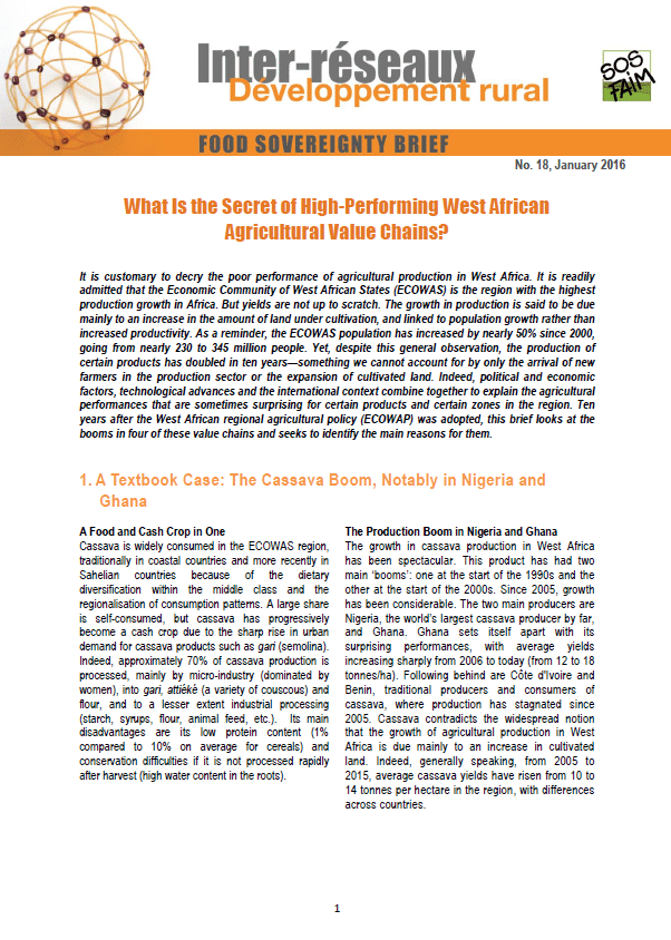 Food sovereignty brief n°18 - What Is the Secret of High-Performing West African Agricultural Value Chains?