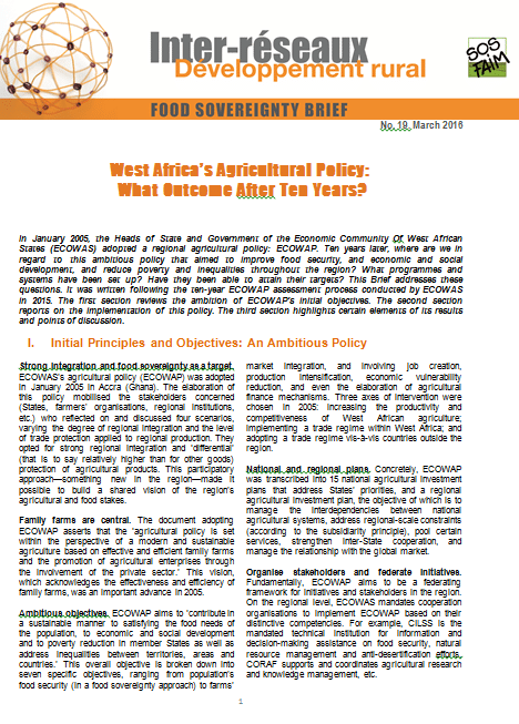 Food sovereignty brief n°19 - West Africa's Agricultural Policy:  What Outcome After Ten Years?