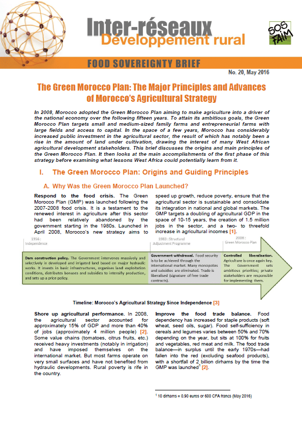 Food sovereignty brief n°20 - The Green Morocco Plan: The Major Principles and Advances of Morocco's Agricultural Strategy