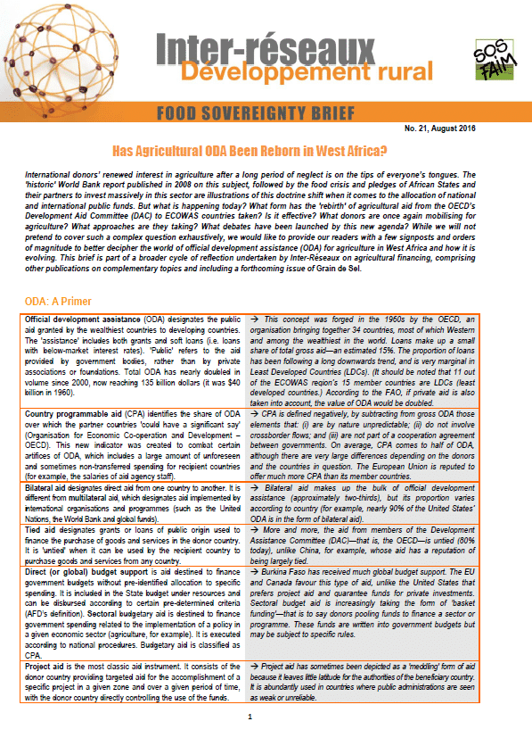 Food sovereignty brief n°21 - Has Agricultural ODA Been Reborn in West Africa?