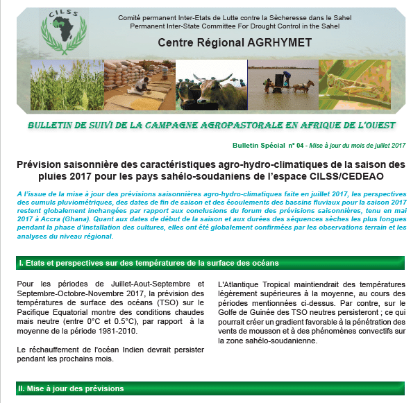 Bulletin spécial n°4 de suivi de la campagne agropastorale en Afrique de l'Ouest