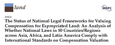 Publication sur le foncier de MDPI: Le statut des cadres juridiques nationaux pour la valorisation de l'indemnisation des terres expropriées