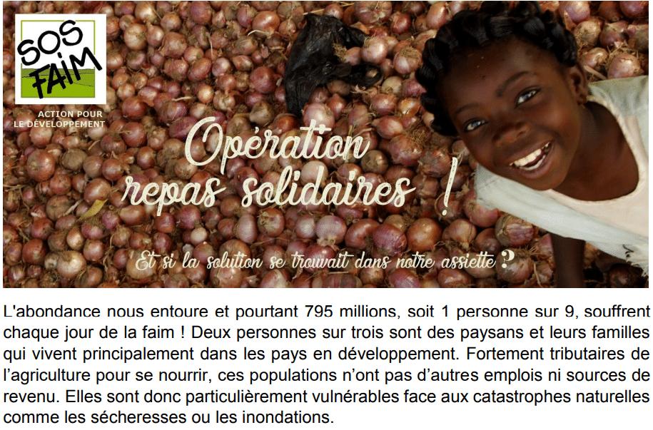 SOS Faim Luxembourg lance l'opération « repas solidaires » pour lutter contre la faim