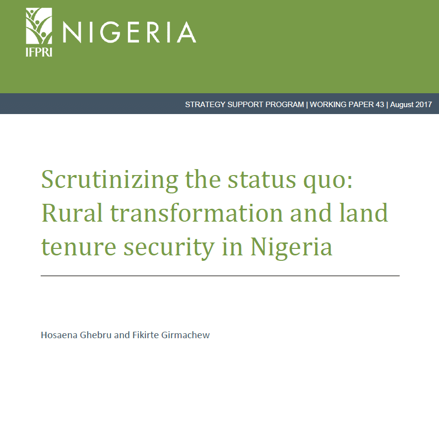 Rural transformation and land tenure security in Nigeria