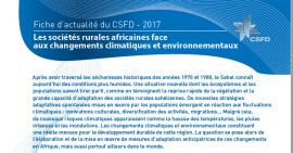 FICHE D'ACTUALITE DU CSFD: LES SOCIETES RURALES AFRICAINES FACE AUX CHANGEMENTS  CLIMATIQUES ET  ENVIRONNEMENTAUX