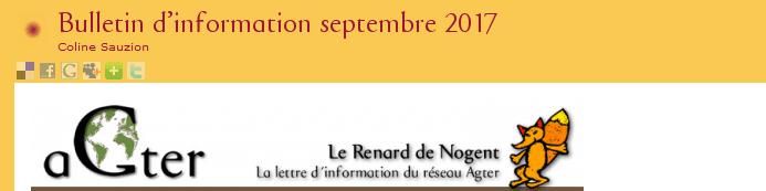 AGTER: Bulletin d'information Septembre 2017