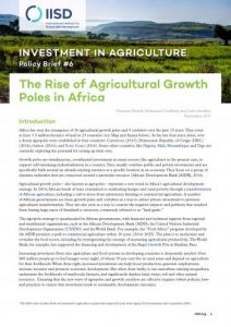 The Rise of agricultural growth poles in Africa: Investment in agriculture