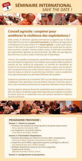 """Séminaire CSA """"Conseil agricole : coopérer pour améliorer la résilience des exploitations !"""""""