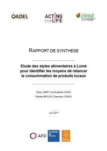 Etude des styles alimentaires à Lomé pour relancer la consommation de produits locaux