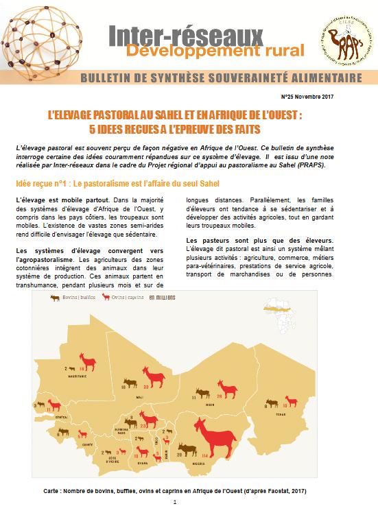 Bulletin de synthèse n°25 - L'élevage pastoral en Afrique de l'Ouest : 5 idées reçues à l'épreuve des faits