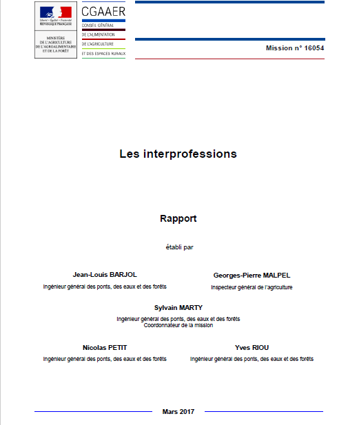 Les interprofessions en France: rapport du Conseil Général de l'alimentation, de l'agriculture et des espaces ruraux (CGAAER)