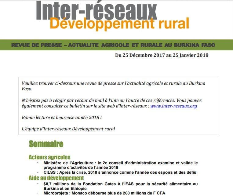 Revue de presse Burkina, du 25 décembre 2017 au 25 janvier 2018