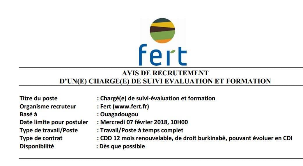 Fert recherche un(e) chargé(e) de suivi-évaluation et formation pour son bureau à Ouaga