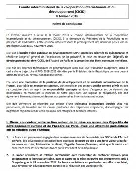 1er Comité interministériel de la coopération internationale et du  développement (CICID): Relevé de conclusions