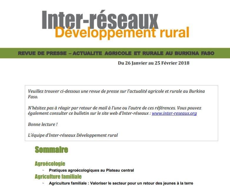 Revue de presse Burkina, du 26 janvier au 25 février 2018