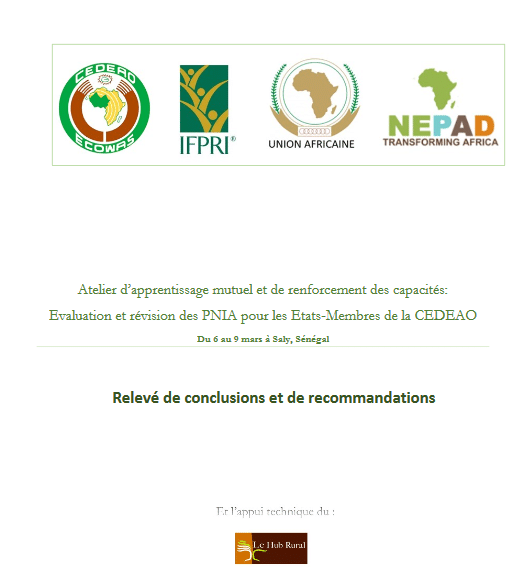 Relevé de conclusions de l'évaluation et et de la révision des PNIA des Etats de la CEDEAO