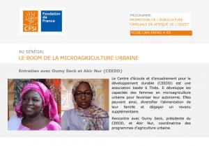 Entretien CFSI : Au Sénégal